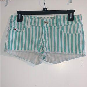 Hollister// green&white striped shorts